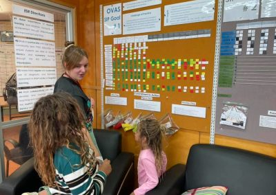 Teacher and two students look at study board